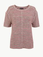 Kadın Mor Çizgili T-shirt