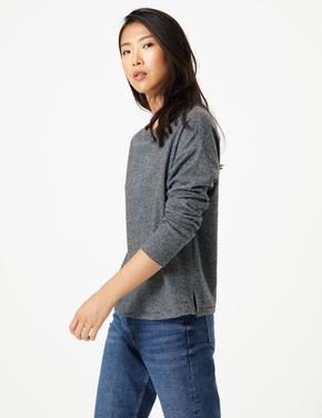 Kadın Gri Çizgili Cosy Sweatshirt