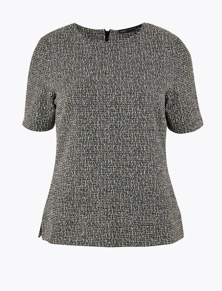 Kısa Kollu Bukle Bluz