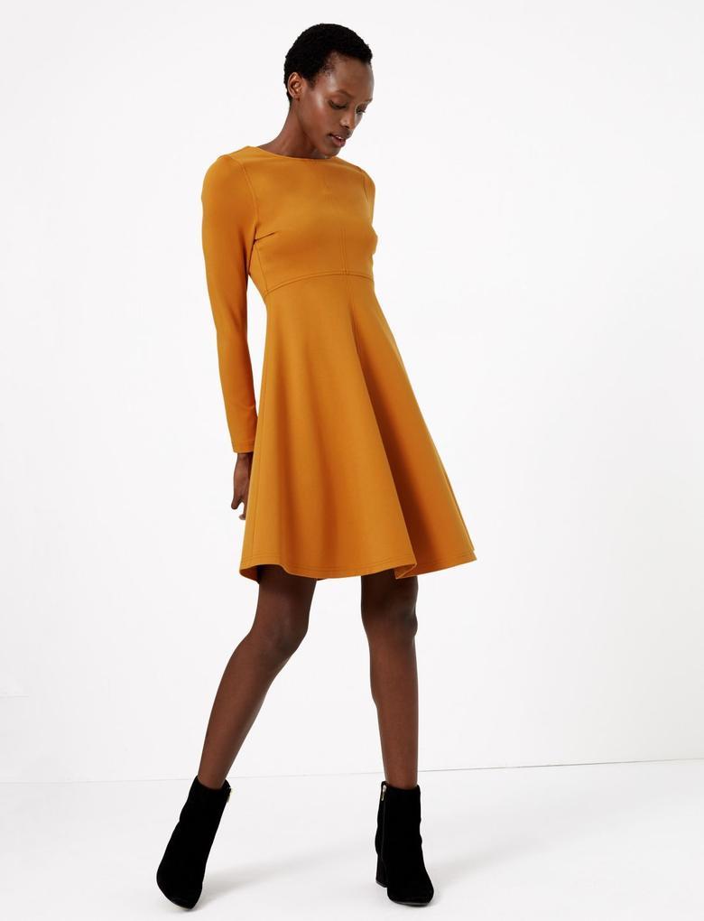 Sarı Fit & Flare Elbise