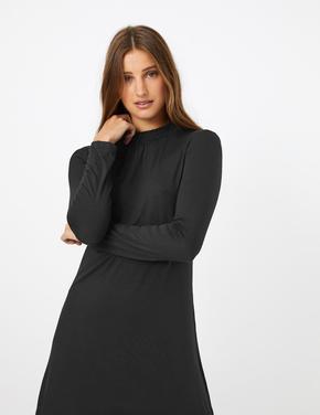 Kadın Siyah Jarse Uzun Kollu Swing Elbise