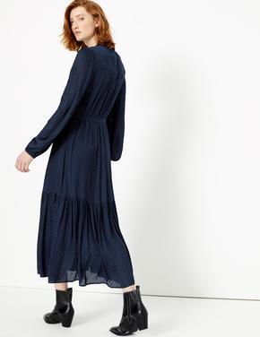 Kadın Lacivert Jakar Desenli Midi Elbise
