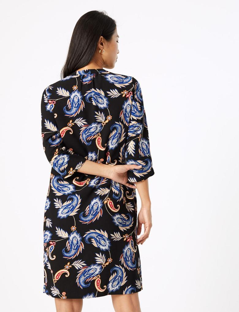 Kadın Siyah Desenli Shift Elbise