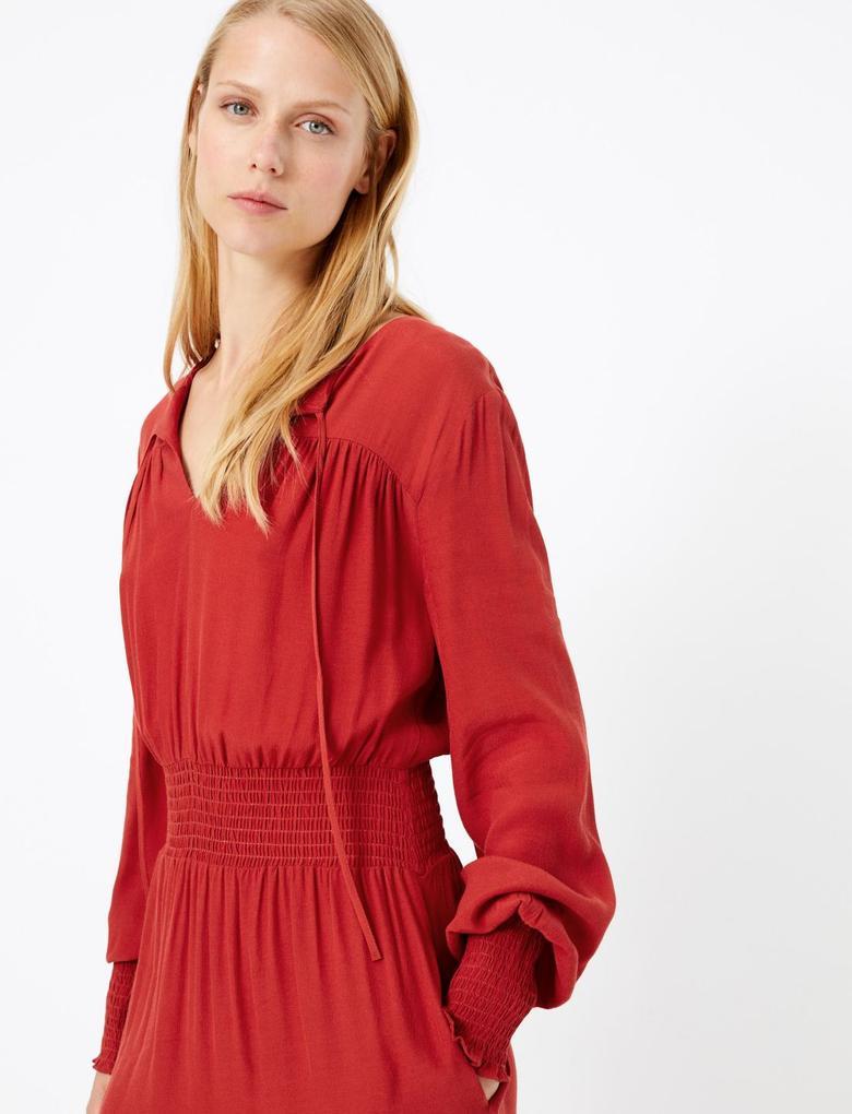 Waisted Midi Elbise
