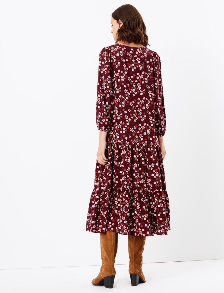 Çiçekli Midi Elbise