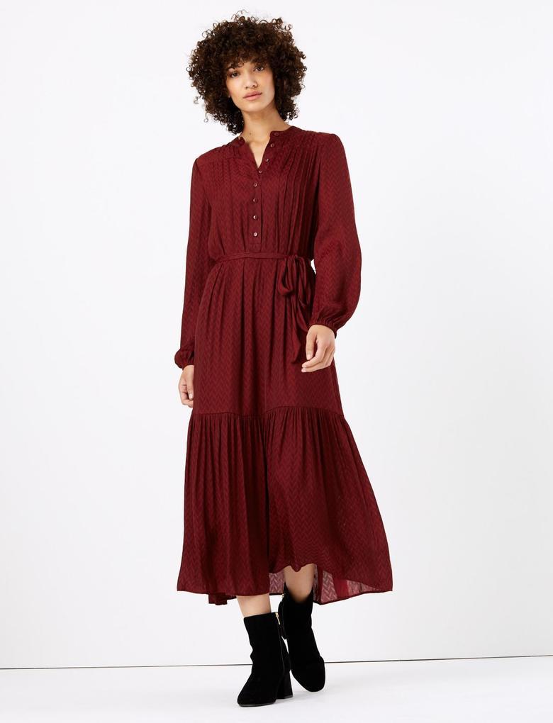 Kadın Mor Jakar Desenli Midi Elbise