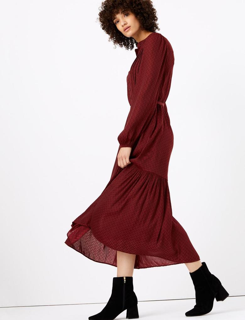 Jakar Desenli Midi Elbise