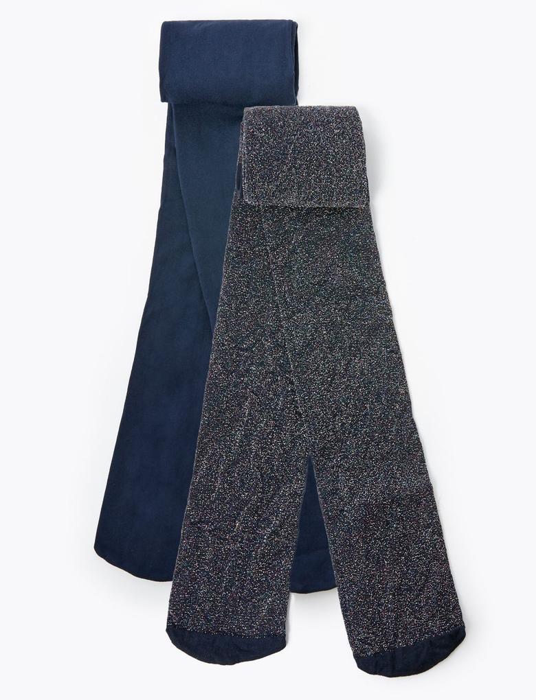 2'li Parıltılı Külotlu Çorap Seti