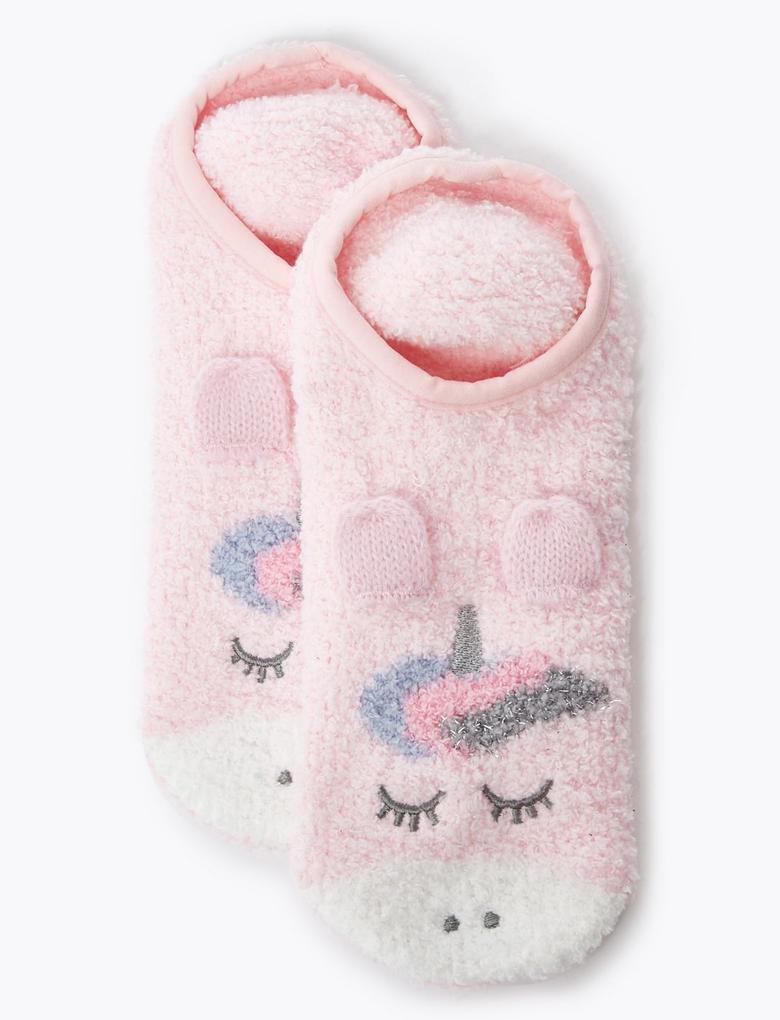 Unicorn İşlemeli Slipper Çorap