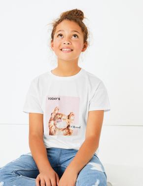 Kedi Baskılı Pamuklu T-shirt