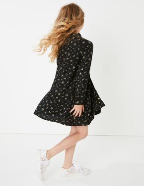 Kız Çocuk Siyah Çiçekli Elbise