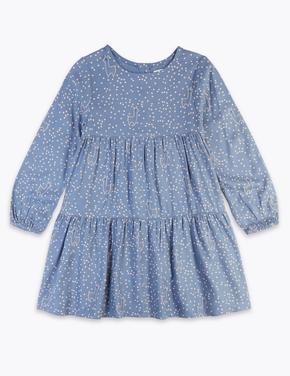 Kız Çocuk Lacivert Elbise ve Çorap Takımı