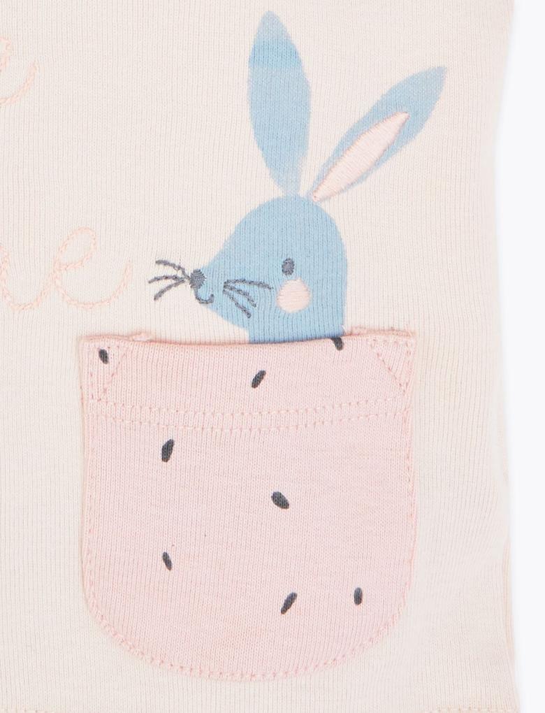 Bebek Pembe 2'li Tavşan Baskılı Üst