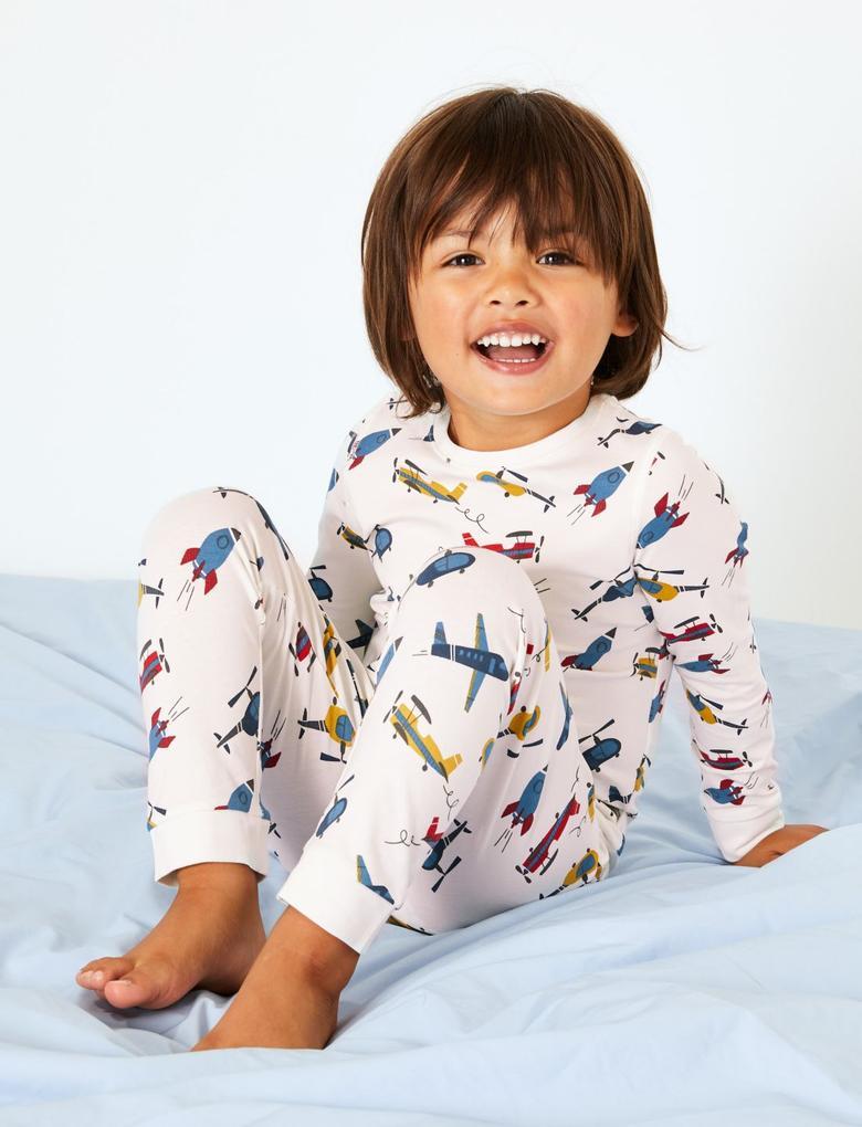 Erkek Çocuk Beyaz Uçaklı Pijama Takımı