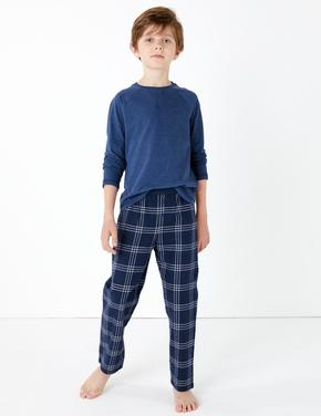 Çocuk Koyu lacivert 2'li Raglan Pijama Seti