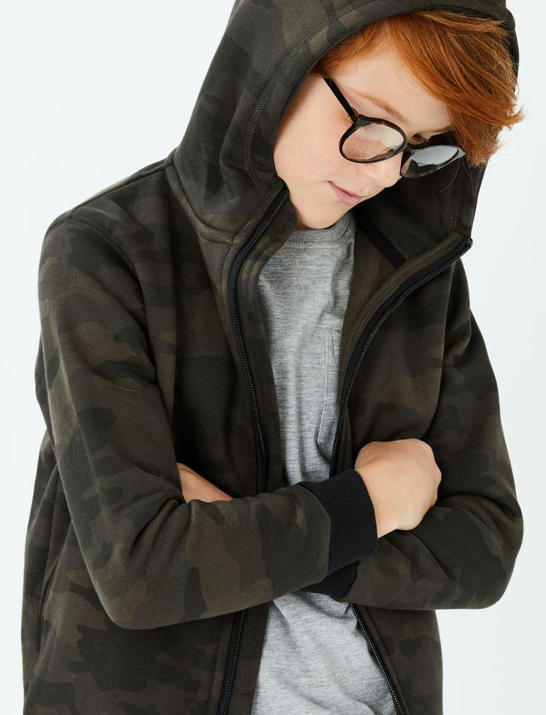 Erkek Çocuk Multi Renk Pamuklu Kamuflaj Sweatshirt