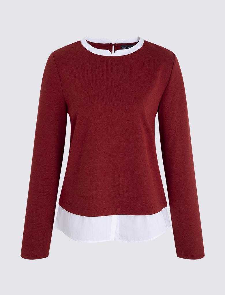 Kadın Kırmızı Uzun Kollu Jarse Bluz
