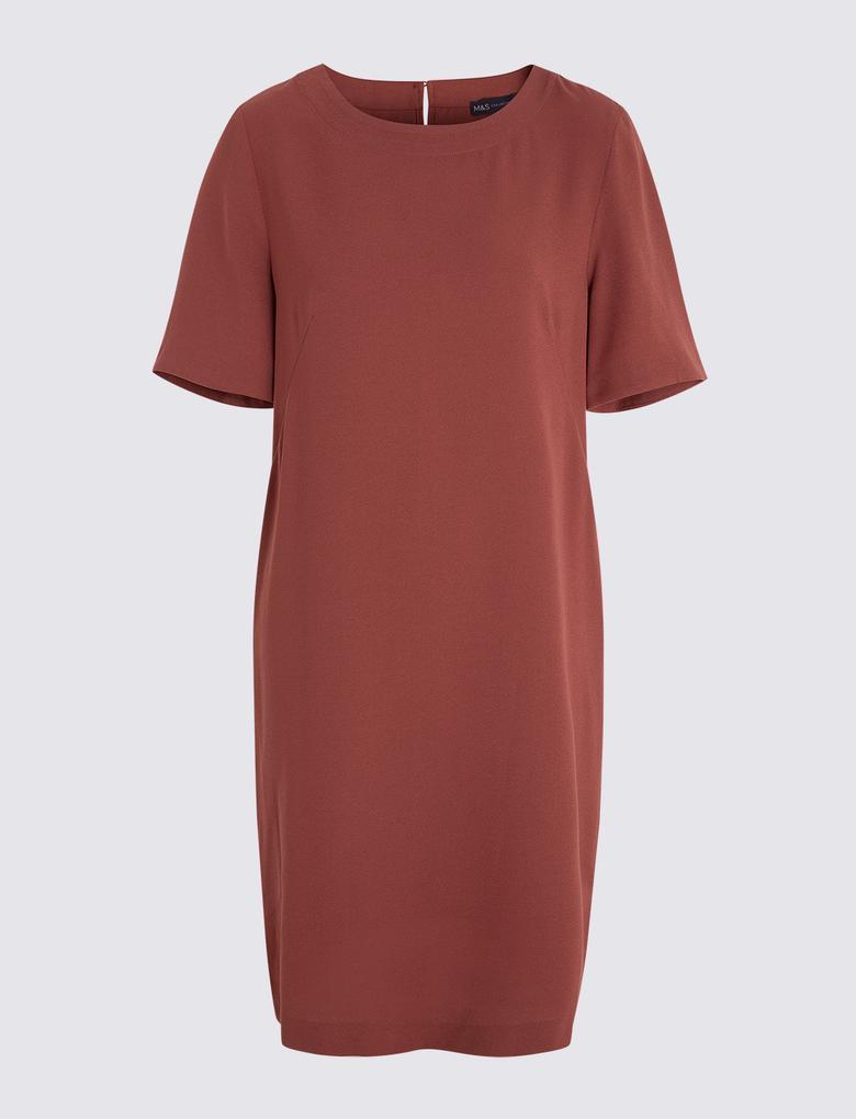 Kadın Kahverengi Diz Hizasında Elbise