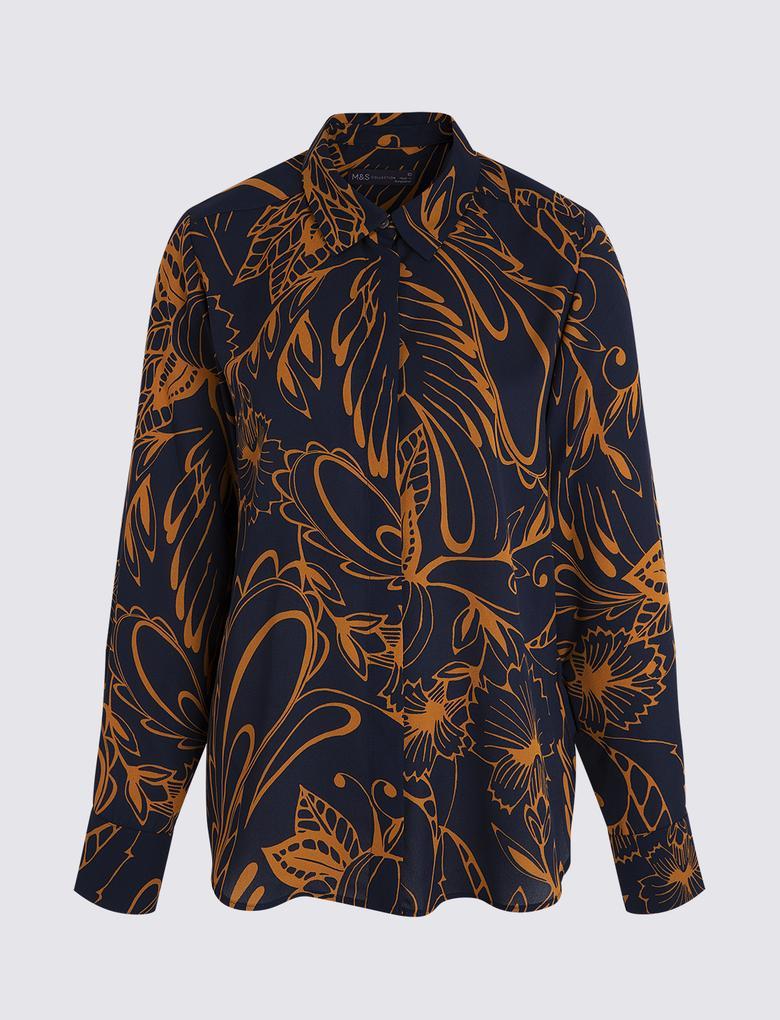 Kadın Lacivert Uzun Kollu Desenli Gömlek