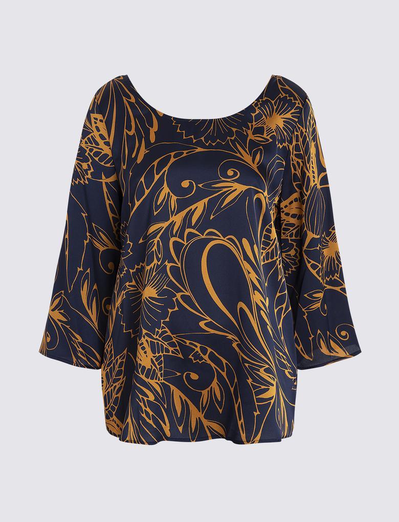Kadın Lacivert 3/4 Kollu Desenli Bluz