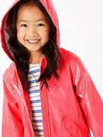 Kız Çocuk Pembe Simli Yağmurluk