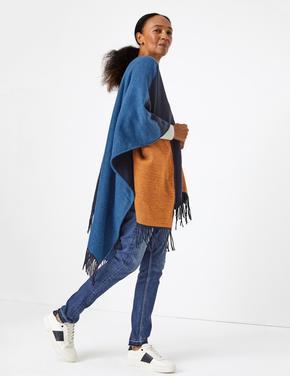 Kadın Mavi Renk Bloklu Şal