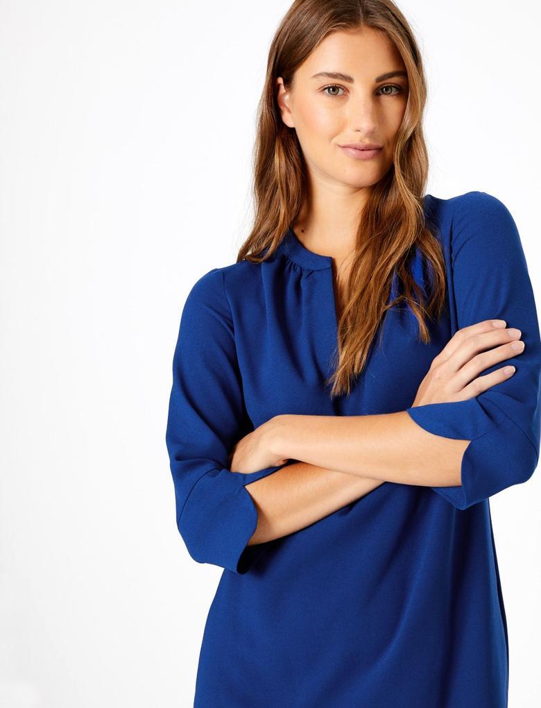 Kadın Mavi Yarım Kollu Elbise