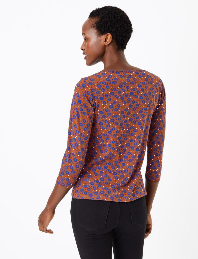 Çiçek Desenli 3/4 Kollu T-shirt