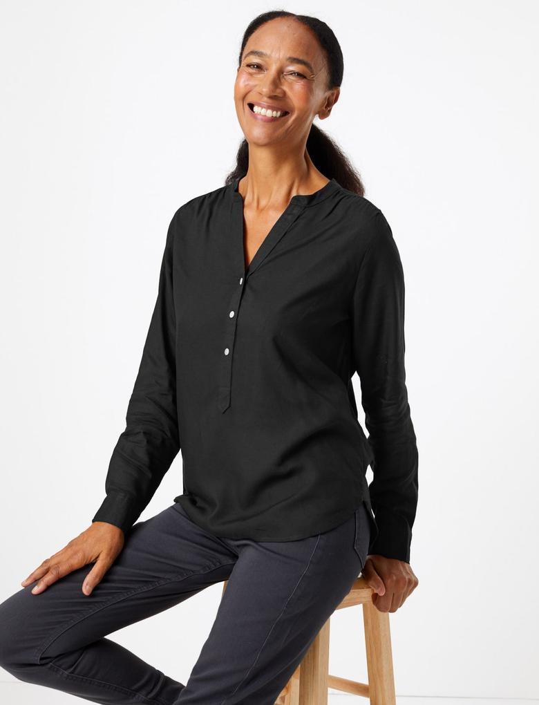 Siyah Uzun Kollu V Yaka Bluz