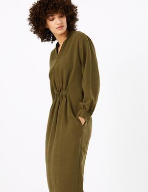 Büzgü Detaylı Uzun Kollu Midi Elbise