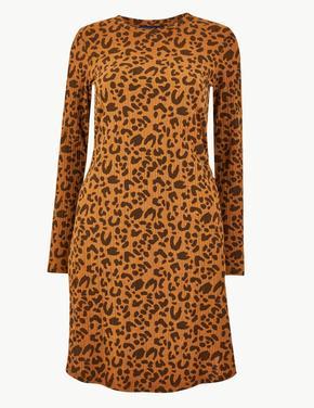 Leopar Desenli Uzun Kollu Elbise
