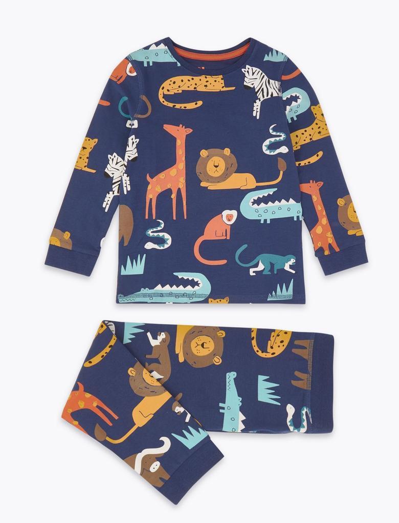 Çocuk Lacivert Desenli Pijama Takımı