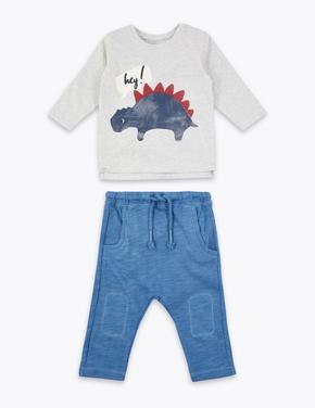 Dinozor Baskılı Sweatshirt ve Pantolon Takımı