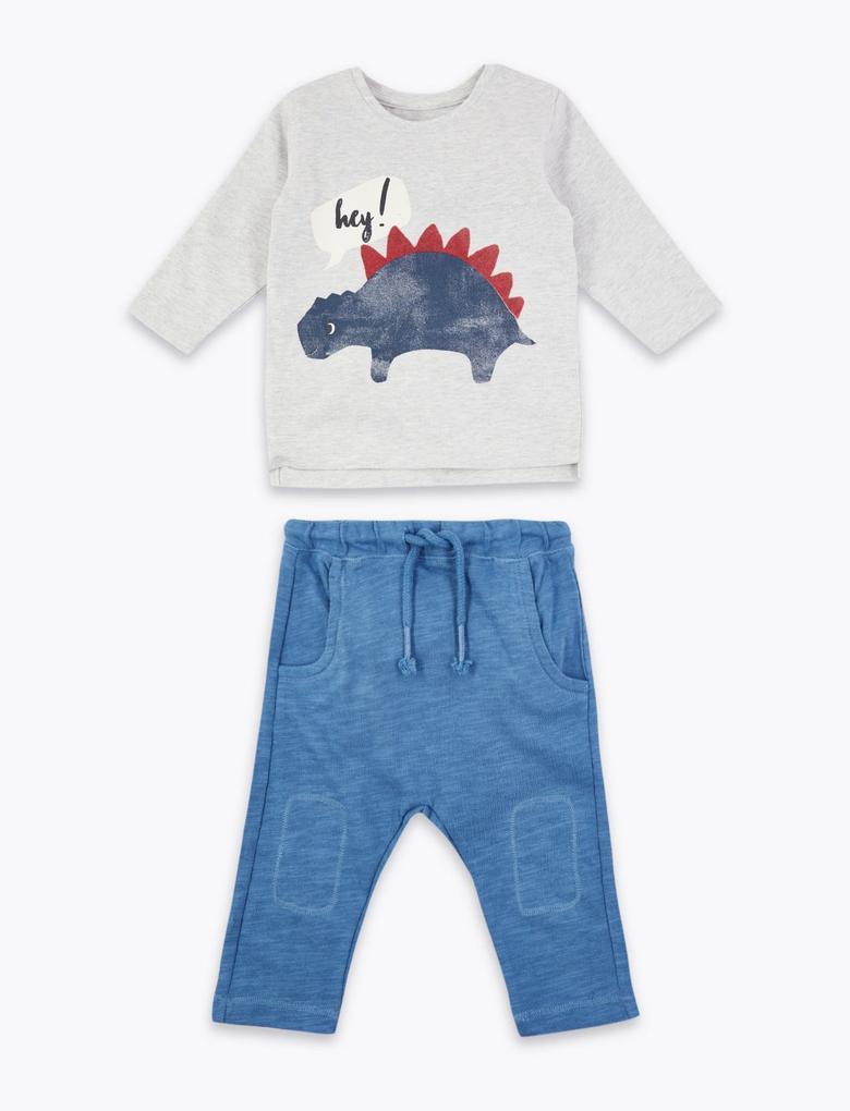 Bebek Gri Dinozor Baskılı Sweatshirt ve Pantolon Takımı