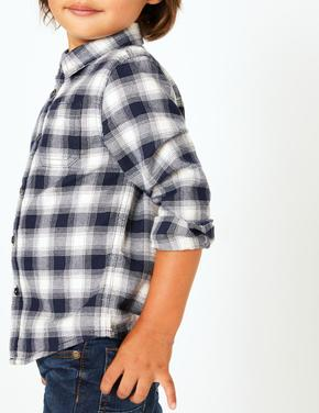 Erkek Çocuk Lacivert Uzun Kollu Kareli Gömlek