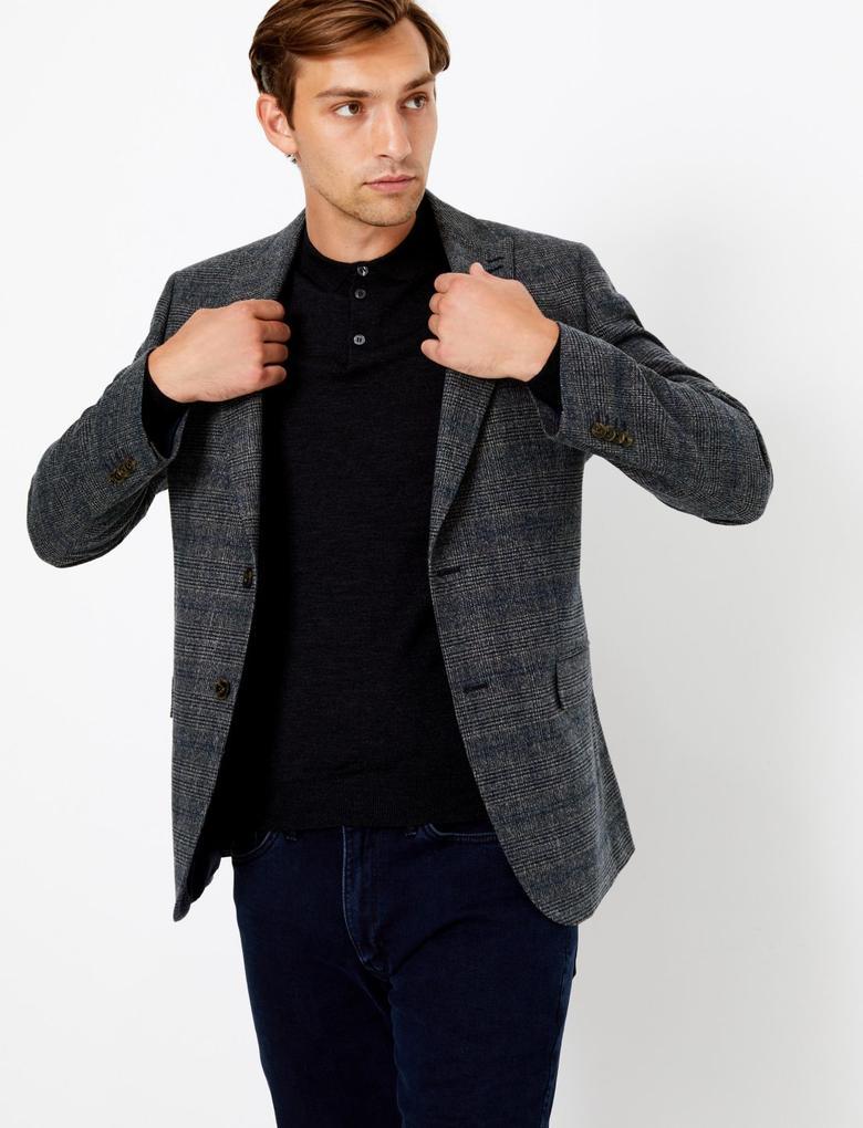 Erkek Mavi Ekose Ceket