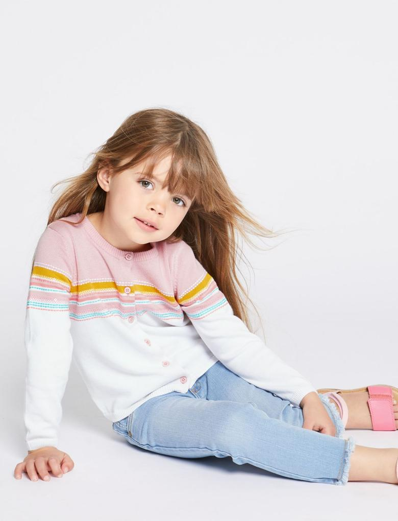 Kız Çocuk Beyaz Saf Pamuklu Hırka