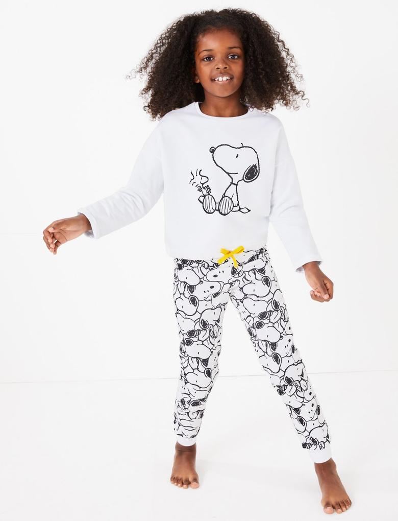 Kız Çocuk Beyaz Snoopy™ Desenli Pijama Takımı