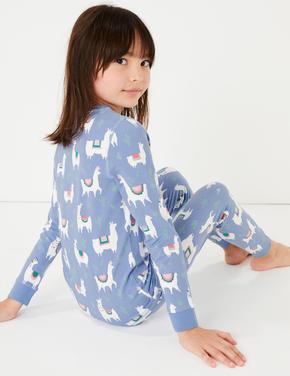 Lama Desenli Pijama Takımı