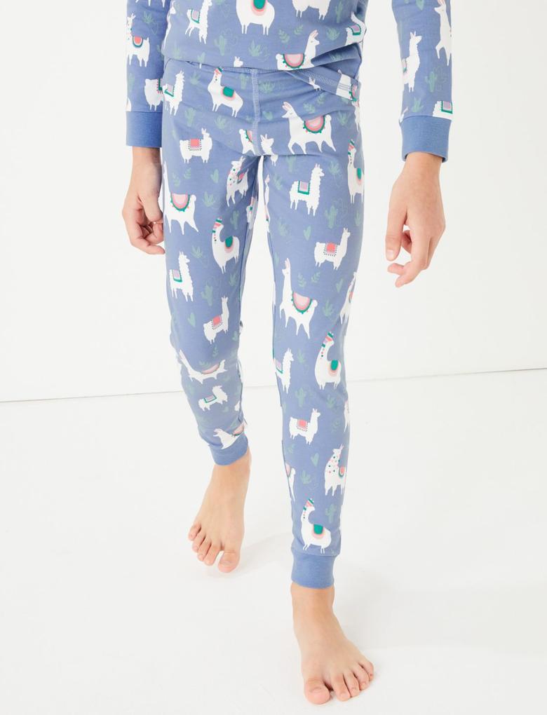 Mavi Lama Desenli Pijama Takımı