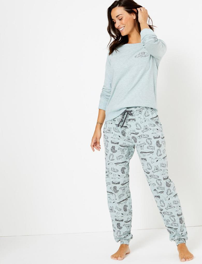 Kadın Mavi Kedi Baskılı Pijama Takımı