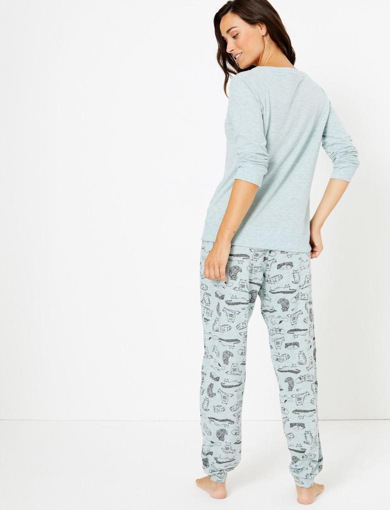 Kedi Baskılı Pijama Takımı