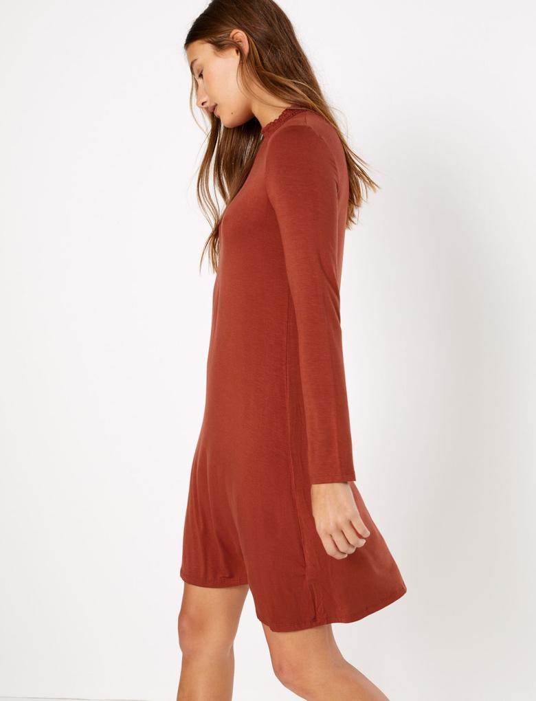 Kadın Turuncu Jarse Swing Elbise