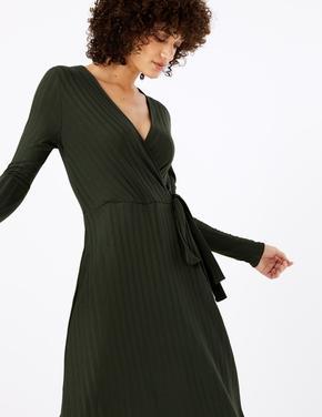 Fitilli Fit & Flare Midi Elbise
