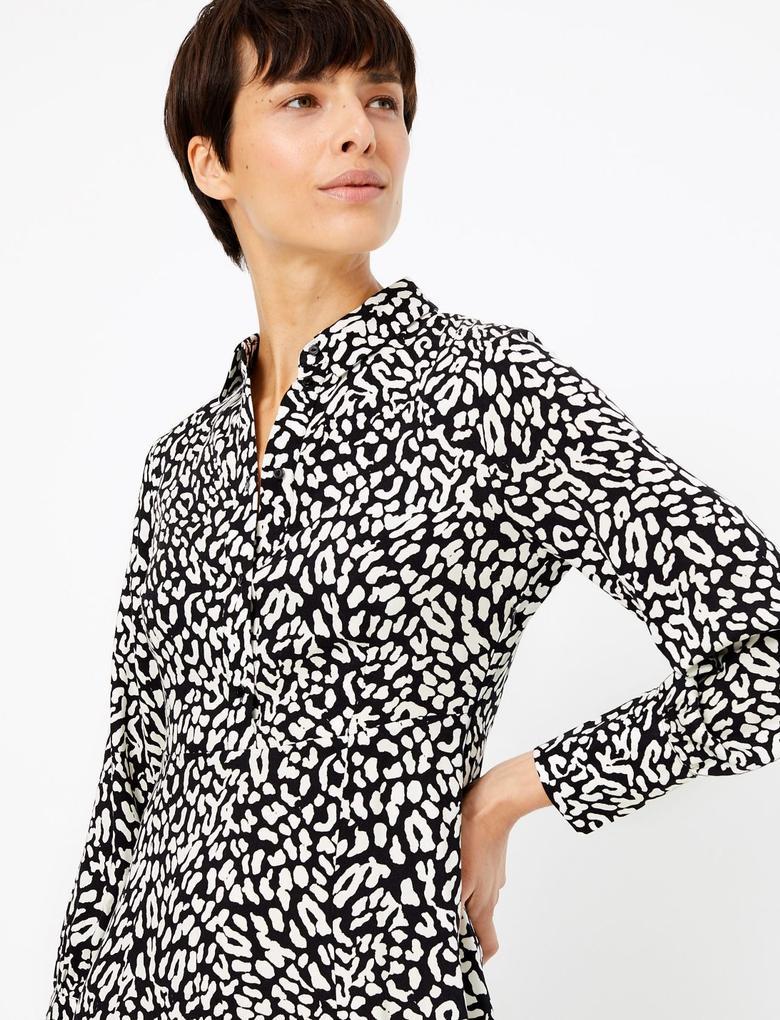 Kadın Siyah Desenli Gömlek Elbise