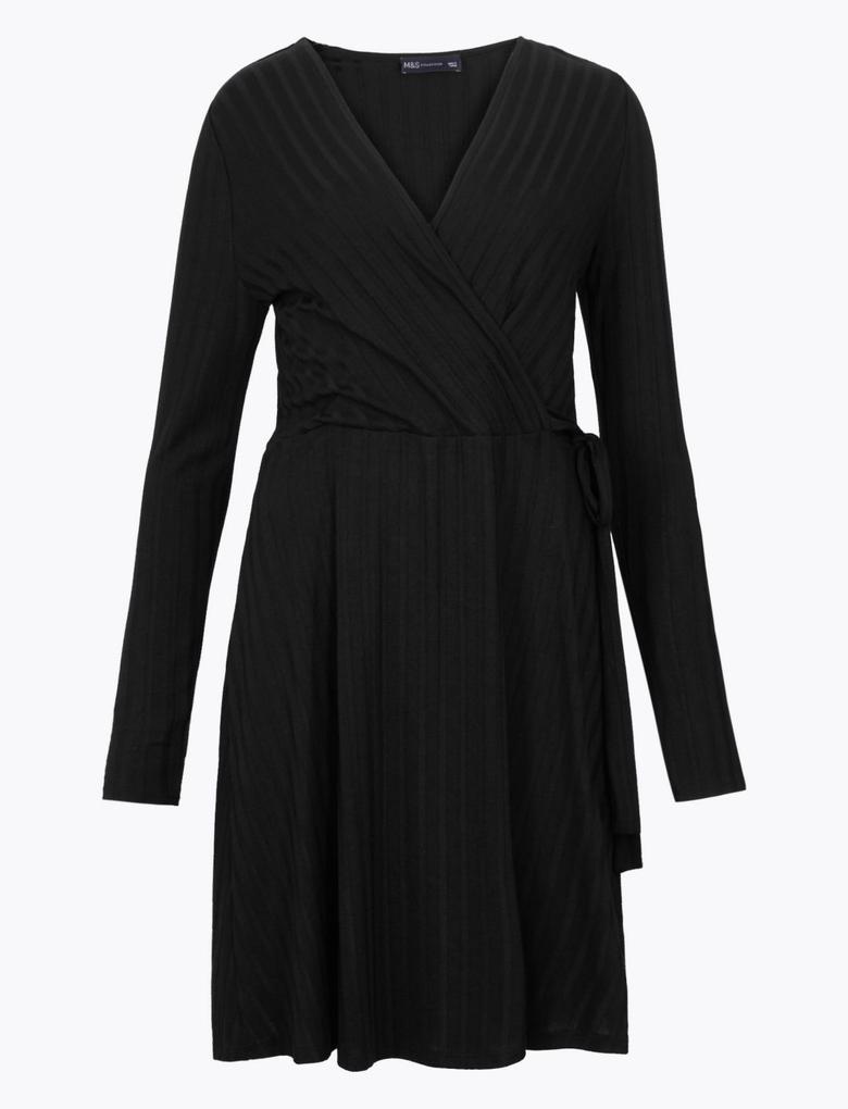 Kadın Siyah Fitilli Fit & Flare Kruvaze Elbise