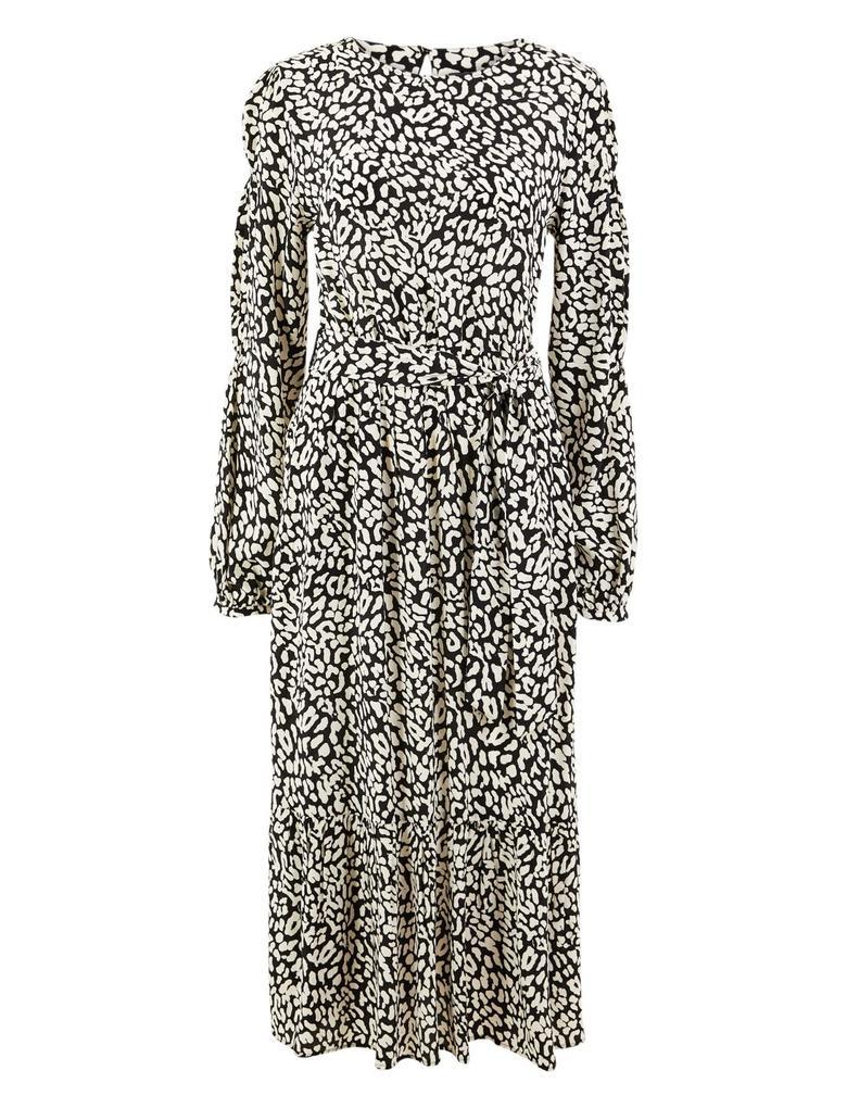 Desenli Kemerli Waisted Midi Elbise