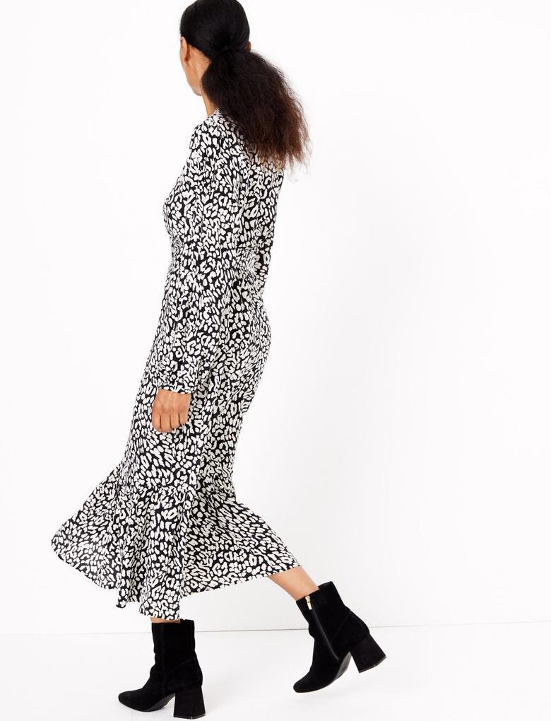 Siyah Desenli Kemerli Waisted Midi Elbise