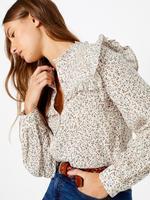Kadın Krem Pamuk Karışımlı Çiçekli Bluz