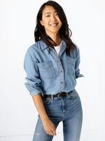 Kadın Mavi Cepli Düğme Detaylı Gömlek